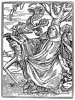 0041730 © Granger - Historical Picture ArchiveDANCE OF DEATH, 1538.   'Death and the Abbot.' Woodcut, French, 1547, after Hans Holbein the Younger from his 'Dance of Death,' published in 1538.