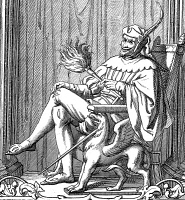 0038850 © Granger - Historical Picture ArchiveSATAN ENTHRONED.   Line engraving, 19th century.
