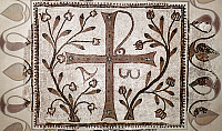 0021770 © Granger - Historical Picture ArchiveEARLY CHRISTIAN MOSAIC.   Sacred monogram. Early Christian mosaic from Sufetula, Tunisia. 5th-6th century A.D.