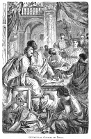 0054025 © Granger - Historical Picture ArchiveNICAEA COUNCIL, 325 A.D.   The 1st Ecumenical Council, convoked by Emperor Constantine, in Nicaea (modern Iznik, Turkey), in 325 A.D. Wood engraving, 19th century.