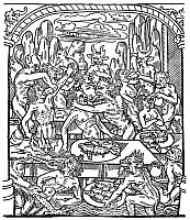 0017603 © Granger - Historical Picture ArchiveHELL: SEVEN DEADLY SINS.   The Gluttonous are forcefed on toads, rats, and snakes as infernal punishment for one of the Seven Deadly Sins. Woodcut from 'Le grant kalendrier et compost des Bergiers,' Troyes, France, 1496.