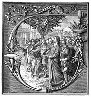 0268761 © Granger - Historical Picture ArchiveJESUS AND ZACCHAUES.   Zacchaeus, a tax collector, who had climbed into a tree to see Jesus Christ during a visit to Jericho, is told by Christ to come down so that they may go visit his home. Engraving after a 16th century manuscript illumination.