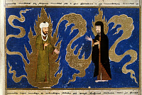 0025258 © Granger - Historical Picture ArchiveMOHAMMED (570-632).   Arabian prophet and founder of Islam. Mohammed (left) and Moses. Miniature from a manuscript of the 'Miraj Nameh' legend by the poet Mir Haydar, with calligraphy by Malik Bakhshi. Published at Khorasan, 15th century.