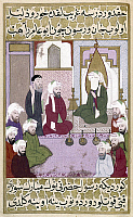 0122026 © Granger - Historical Picture ArchiveMOHAMMED (570-632).   Arabian prophet and founder of Islam. Mohammed discussing Islamic religious precepts with a Christian monk, in the presence of nine of his companions. Turkish miniature from a late 16th century copy of the Siyer-i-Nebi, written c1388.