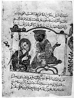 0122159 © Granger - Historical Picture ArchiveKALILA WA DIMNA.   Bidpai and the King. From the Arab version of the traditional Sanskrit collection of fables, Kalila wa Dimna, by 'abd Allah ibn al-Moqaffa, 1220-1230.