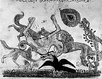 0122182 © Granger - Historical Picture ArchiveKALILA WA DIMNA.   The killing of the camel, a scene from the story of the Lion and the Bull, from the Arab version of the traditional Sanskrit collection of fables, Kalila wa Dimna, by 'abd Allah ibn al-Moqaffa, 1220-1230.