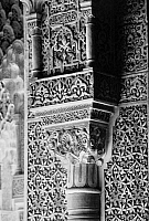 0122402 © Granger - Historical Picture ArchiveSPAIN: ALHAMBRA PALACE.   Detail of a column at the Court of the Lions at the Alhambra Palace in Granada, Spain.