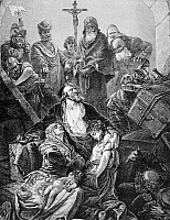 0029074 © Granger - Historical Picture ArchiveEXPULSION OF JEWS, 1492.   The expulsion of Jews from Spain in 1492 by order of King Ferdinand and Queen Isabella. Line engraving, 19th century.