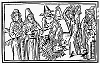 0119265 © Granger - Historical Picture ArchiveLIBRO DE ANTI-CRISTO, 1497.   Burning books. Woodcut from the epistle of Rabbi Samuel of Morocco to Rabbi Isaac about the errors of the Jews, 1497. Christian truth is represented as Jewish truth.