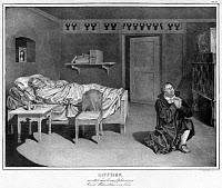 0528804 © Granger - Historical Picture ArchiveLUTHER AND MELANCHTHON.   Martin Luther praying for friend and collaborator Philip Melanchthon in 1540. Lithograph, 1830.