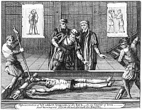 0003717 © Granger - Historical Picture ArchiveTORTURE, c1555.   An English Protestant being tortured on the rack during the reign of Queen Mary I (1553-1558). Copper engraving from an edition of John Foxe's 'The Book of Martyrs,' London, 1784.