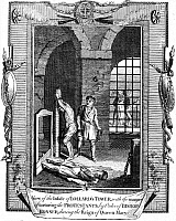 0042974 © Granger - Historical Picture ArchiveFOXE: BOOK OF MARTYRS.   View of the inside of Lollard's Tower, showing the manner of torturing the Protestants by order of Bishop Edmund Bonner during the reign of Queen Mary I (1553-1558). Line engraving from a late 18th century English edition of John Foxe's 'The Book of Martyrs,' first published in 1563.