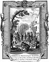 0042975 © Granger - Historical Picture ArchiveFOXE: BOOK OF MARTYRS.   Thirteen protestant martyrs, eleven men and two women, burnt together in one fire at Stratford, in Essex, England. Line engraving from a late 18th century English edition of John Foxe's 'The Book of Martyrs,' first published in 1563.