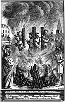 0068732 © Granger - Historical Picture ArchiveFOXE: BOOK OF MARTYRS.   The burning of William Coker, William Hooper, Henry Lawrence, Richard Collier, Richard Wright and William Steere at Canterbury in Kent, England. Line engraving, from a late 18th century English edition of John Foxe's 'The Book of Martyrs', first published in 1563.