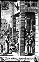 0068757 © Granger - Historical Picture ArchiveFOXE: BOOK OF MARTYRS.   Thomas Watts of Billericay in Essex, England, taking leave of his wife and children prior to his execution. Line engraving, from a late 18th century English edition of John Foxe's 'The Book of Martyrs,' first published in 1563.