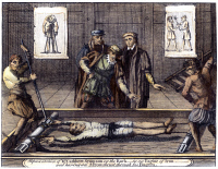0071727 © Granger - Historical Picture ArchiveTORTURE, c1555.   An English Protestant being tortured on the rack during the reign of Queen Mary I (1553-1558). Copper engraving from an edition of John Foxe's 'The Book of Martyrs', London, 1784.