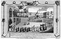 0090313 © Granger - Historical Picture ArchiveOXFORD MARTYRS, 1556.   Procession in Oxford, England, of Queen Mary's representatives, meeting to interrogate the Protestant bishops Thomas Cranmer, Nicholas Ridley and Hugh Latimer, April 1555. Copper engraving from a late 18th century edition of John Foxe's 'The Book of Martyrs,' first published in 1563.