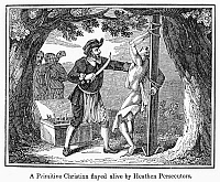 0098358 © Granger - Historical Picture ArchiveFLAYING OF CHRISTIAN.  'A Primitive Christian flayed alive by Heathen Persecutors.' Wood engraving, American, c1840.