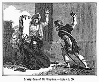 0098360 © Granger - Historical Picture ArchiveMARTYRDOM OF ST. STEPHEN.   St. Stephen stoned to death in Jerusalem, c35 A.D. Wood engraving, American, c1840.