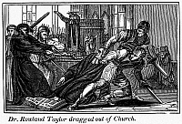 0101496 © Granger - Historical Picture ArchiveFOXE: BOOK OF MARTYRS.  Anglican rector Rowland Taylor dragged out of church during the Marian Persecutions in England, 1555. Line engraving, 19th century.