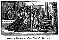 0101499 © Granger - Historical Picture ArchiveENGLAND: MARTYR, 1550.   Edward VI signing warrant for the arrest of Joan Bocher, an Anabaptist later burned at the stake for heresy at Smithfield, England, 1550. Wood engraving from an 1832 American edition of John Foxe's 'Book of Martyrs.'