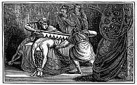 0101501 © Granger - Historical Picture ArchiveMARTYRDOM: SAINT TARBULA.   Tarbula, sister of Simeon, torn asunder by the Romans in 345 A.D. Wood engraving from an 1832 American edition of John Foxe's 'Book of Martyrs.'