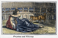 0104148 © Granger - Historical Picture ArchiveROME: PERPETUA & FELICITAS.   Martyrdom of Saints Perpetua and Felicitas at the Roman Colosseum, c203. Wood engraving from an 1832 American edition of John Foxe's 'Book of Martyrs.'