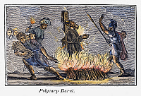 0104150 © Granger - Historical Picture ArchivePOLYCARP OF SMYRNA   (c69-c155). Christian martyr and saint. Polycarp burned at the stake by the Romans in 155. Wood engraving from an 1832 American edition of John Foxe's 'Book of Martyrs.'