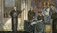 0104154 © Granger - Historical Picture ArchiveHUGH LATIMER (1485-1555).   English religious reformer. Bishop Latimer before a Catholic tribunal during the reign of Mary I. Wood engraving from an 1832 American edition of John Foxe's 'Book of Martyrs.'