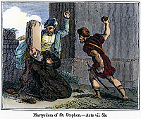 0106289 © Granger - Historical Picture ArchiveMARTYRDOM OF ST. STEPHEN.   St. Stephen stoned to death in Jerusalem, c35 A.D. Wood engraving, American, c1840.