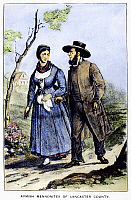 0107361 © Granger - Historical Picture ArchiveAMISH MENNONITE COUPLE.   An Amish Mennonite couple in Lancaster County, Pennsylvania. Lithograph, American, 19th century.