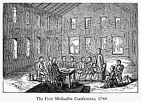 0098393 © Granger - Historical Picture ArchiveMETHODIST CONFERENCE, 1744.   John and Charles Wesley hold the first Methodist conference at the Foundry in London, 25-30 June 1744. Wood engraving, mid-19th century.