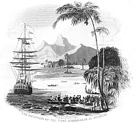0078534 © Granger - Historical Picture ArchiveTAHITI: MISSIONARIES, 1797.   The reception of the first missionaries at Otaheite (modern Tahiti). Line engraving, American, 1832.