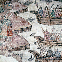 0104481 © Granger - Historical Picture ArchiveMEXICAN MISSIONARIES.   Mexican Catholic missionaries landing in Japan during the 16th century. Polychrome mural in the cathedral at Cuernavaca, Mexico, 18th century.