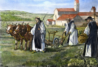 0040209 © Granger - Historical Picture ArchiveMONKS.   Medieval Cistercian monks farming their land, after a nineteenth-century painting.