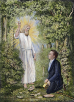 0009678 © Granger - Historical Picture ArchiveMORONI AND JOSEPH SMITH.   The angel Moroni delivering the plates of the Book of Mormon to Joseph Smith in western New York, 1827. Lithograph, 1886.