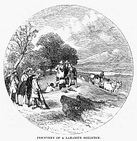 0098849 © Granger - Historical Picture ArchiveMORMON DISCOVERY, 1834.   Joseph Smith and a group of Mormons discover the skeleton of a 'Lamanite' warrior while journeying through the wilderness in southern Illinois, 1834. Wood engraving, American, 1853.
