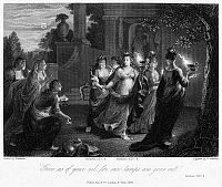 0038351 © Granger - Historical Picture ArchivePARABLE OF VIRGINS.   'Give us your oil, for our lamps are gone out.' The parable of five wise and five foolish virgins (Matthew 25: 1-13). Line engraving, 1843, after a painting by Godfried Schalcken (1643-1706).