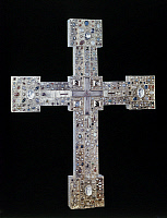 0167472 © Granger - Historical Picture ArchiveRELIQUARY: CROSS.   Romanesque reliquary cross from the Abbey of St. Paul in Lavanttal, Austria. Wood covered with gilded silver, precious stones, and filigree, 12th century.