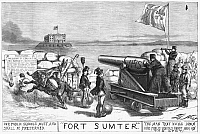 0053264 © Granger - Historical Picture ArchiveNAST: PAROCHIAL SCHOOLS.   Thomas Nast's cartoon comparing the growth of the Catholic Church and parochial schools to the Confederate attack on Fort Sumter. Wood engraving, 1870.