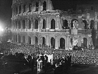 0126816 © Granger - Historical Picture ArchivePOPE PAUL VI (1897-1978).   Pope, 1963-1978. Pope Paul in front of the Colosseum in Rome, Italy, celebrating the Via Crucis (Stations of the Cross) on Good Friday, 1965.