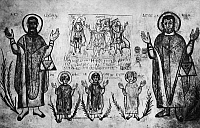 0170136 © Granger - Historical Picture ArchiveMONOPHYSITE FRESCO.   Fresco in a monophysite church near Asyut, Egypt, showing the three children of Babylon in a fiery furnace, 6th century A.D.