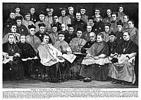 0266318 © Granger - Historical Picture ArchiveTHIRD PLENARY COUNCIL, 1884.   The Third Plenary Council of Baltimore, 1884, a national meeting of Roman Catholic bishops in Baltimore, Maryland, presided over by Archbishop James Gibbons (back row, center, labeled 1). Engraving, American, 1884.