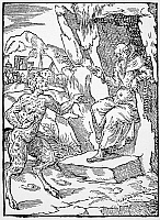 0002141 © Granger - Historical Picture ArchiveSAINT JEROME (340-420).   Temptation of St Jerome by the Devil. Woodcut, French, 16th century.