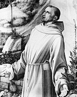 0005242 © Granger - Historical Picture ArchiveST. FRANCIS OF ASSISI   (1182-1226). Italian friar and preacher. St. Francis in Ecstasy. Oil on panel (detail) by Giovanni Bellini (c1430-1516).