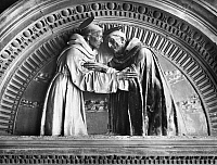 0005576 © Granger - Historical Picture ArchiveST. FRANCIS & ST. DOMINIC.   The Meeting of St. Francis of Assisi (left) and St. Dominic. Glazed terra-cotta relief in the Ospedale di San Paolo, Florence, Italy, by Andrea della Robbia (1437-1528).