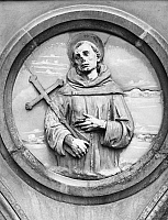 0013903 © Granger - Historical Picture ArchiveST. FRANCIS OF ASSISI   (1182-1226). Italian friar and preacher. Terracotta by Andrea della Robbia in Piazza St. Maria Novella, Loggia di St. Paolo, Florence, Italy.