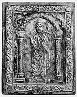 0014943 © Granger - Historical Picture ArchiveSAINT PETER (d. 67).   One of the Twelve Apostles and traditionally the first bishop of Rome. A 6th century silver book cover from Syria, found near Antioch.