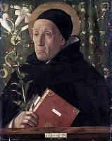0019583 © Granger - Historical Picture ArchiveSAINT DOMINIC.   'Portrait of Fra Teodoro of Urbino as Saint Dominic.' Oil on canvas by Giovanni Bellini, 1515. RESTRICTED OUTSIDE US.