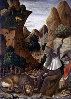 0019993 © Granger - Historical Picture ArchiveSAINT JEROME.   'Saint Jerome in a Landscape.' Tempera on poplar by Bono da Ferrara, c1440. RESTRICTED OUTSIDE US.